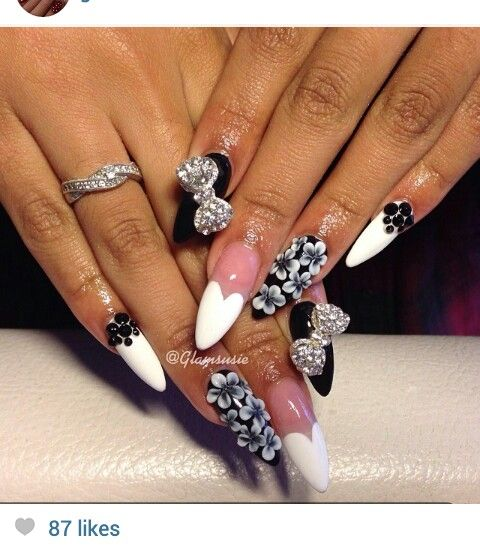 Black And White Nails With Bows