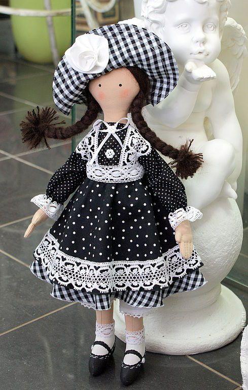 Купить Фира - чёрно-белый, интерьерная кукла, коллекционная кукла, текстильная кукла, монохром, монохромный: