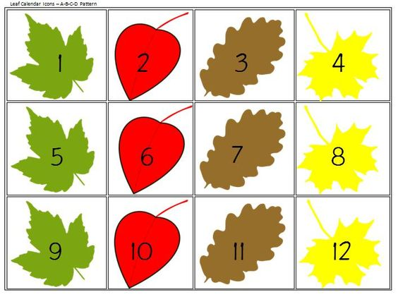 Calendar Icons for Patterns & Predictions  FREE apples and leaves