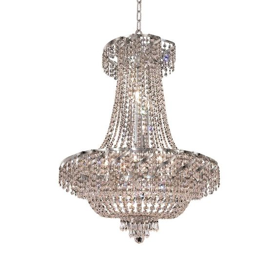 "Elegant Lighting ECA2D26C/EC Belenus Collection Dining Room Hanging Fixture D26"" x H32"" Chrome Finish (Elegant Cut Crystals)"