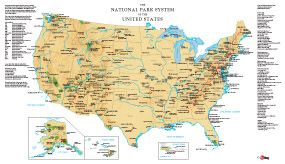 Map showing all US National Parks Lakeshores Historical sites
