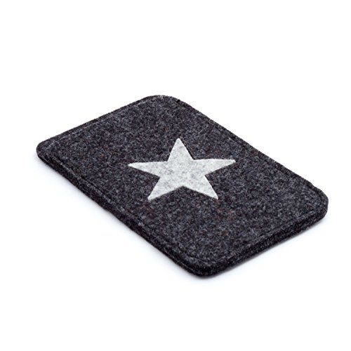 Handy Iphone® Hülle 9 cm x 14,5 cm 100 % Merinowolle Design Filz Farbe anthrazit mit Stern hell grau meliert ESTA-Design http://www.amazon.de/dp/B00V3EHOII/ref=cm_sw_r_pi_dp_qV.ivb1TR3DGX