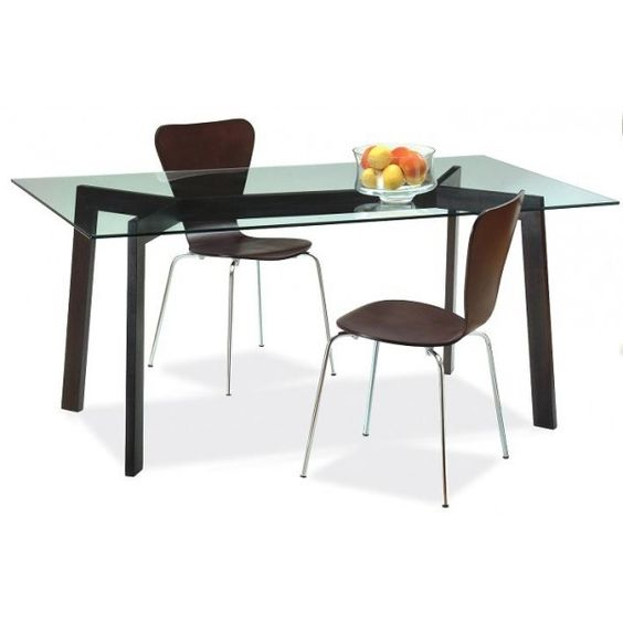 Mesa y cubierta de vidrio y patas de madera con for Mesas de comedor de vidrio