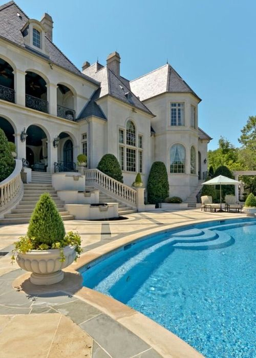Beautiful luxury pools and backyards on pinterest for Nice big mansions
