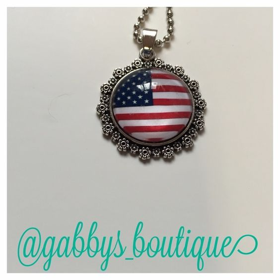 """American flag necklace New in packaging. Silver colored. Chain length is 18"""". No trades Jewelry Necklaces"""