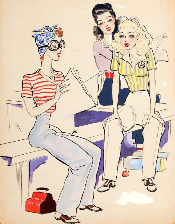 1940s color photo illustration work wear pants jeans striped top hair turban blue red yellow ladies fashion style print ad