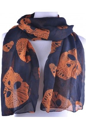 Black base orange skull scarf Available from www.skullaccessories.co.uk