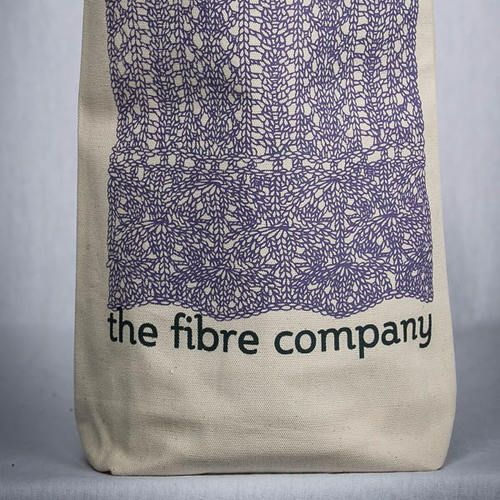 """The Fibre Co. Lace Project Bag 100% organic cotton project bag printed with a hand-drawn lace stitch pattern. Measures 13 x 9 x 3.5"""" (33 x 22.75 x 8.75 cm). Printed and sewn in the USA. - $12.00"""