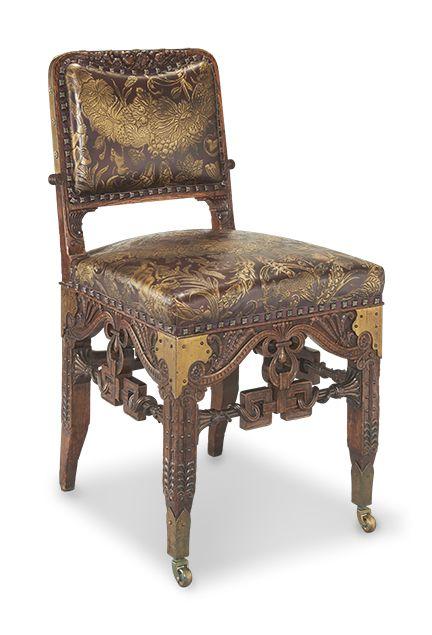 c1881 dining chair, Herter Bros, NYC, additional strettcher compared to WH Vanderbilt dining chiars, oak,leather, 35t, 16-.      http://www.ebay.com/usr/circa19century