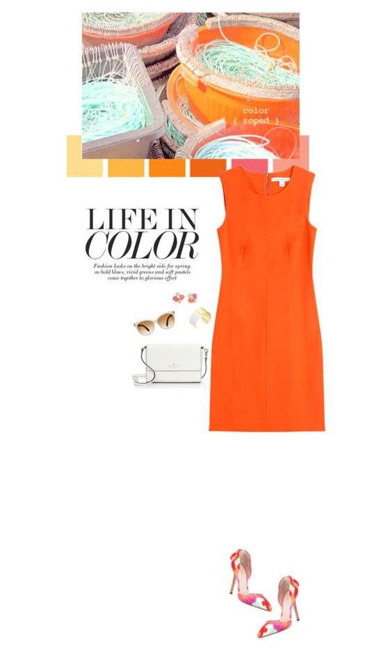 """Bright orange dress (Top Fashion Sets for Jul 9th, 2015)"" by sophiek82 ❤ liked on Polyvore featuring Kate Spade, Diane Von Furstenberg and Tom Ford"