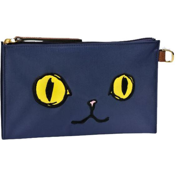 Longchamp Le Pliage Miaou Flat Cosmetic Case found on Polyvore featuring beauty products, beauty accessories