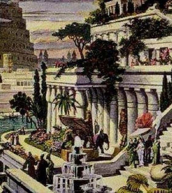 les jardins suspendus de babylone l 39 une des 7 merveilles du monde antique antiques and monuments. Black Bedroom Furniture Sets. Home Design Ideas