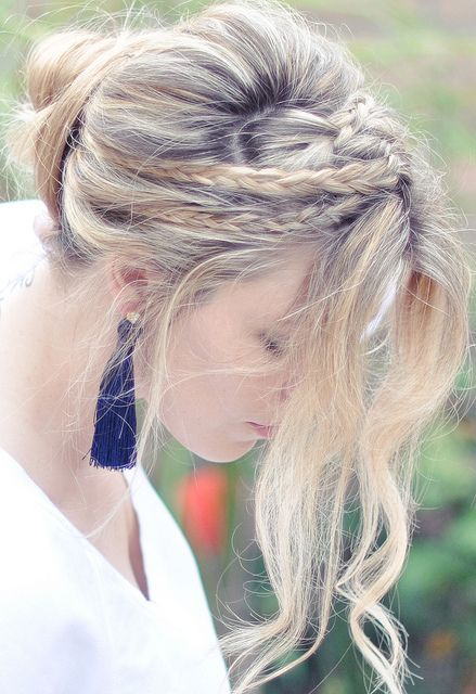 messy rope braids and low bun hair tutorial.