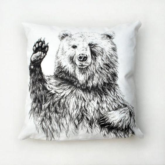 VENTE de 30 % - housse de coussin ours en agitant