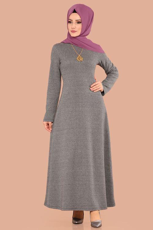 Modaselvim 39 Tl Baliksirti Kislik Elbise Mdb3986 S Gri Clothes For Women High Neck Dress Fashion