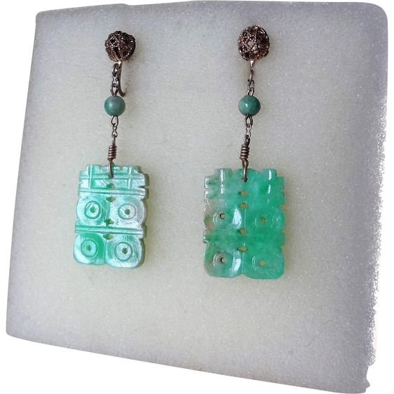 Chinese Art Deco 1920's Carved Apple Green Jadeite Earrings