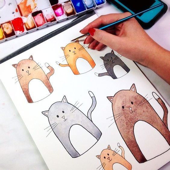 I'm painting cats for a super silly secret project. #watercolor #illustration
