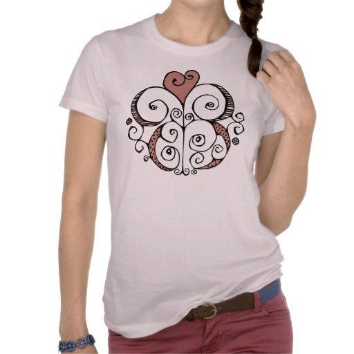 Heart Motif red Ladies T-shirt