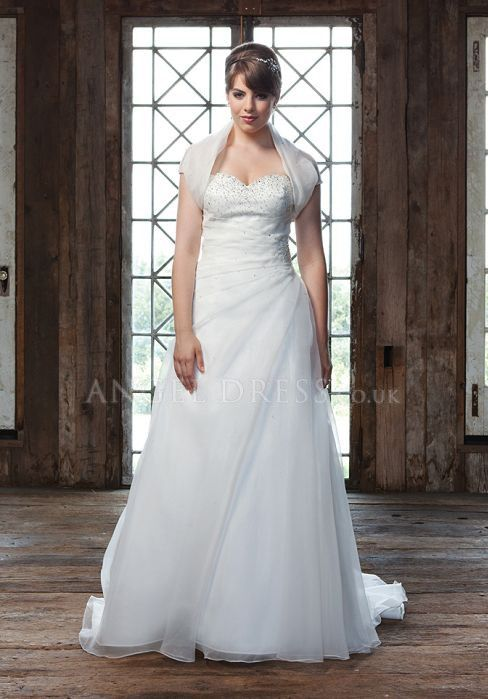 Lace Up A line Sweetheart Organza Floor Length Sleeveless/ Short Sleeve Plus Size Wedding Dress