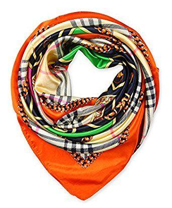 "corciova Women's 35"" Designer Square Silk Like Hair Scarf Headwear 90 x 90 cm Orange $9.99 Free Shipping"