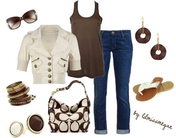 """casual brown & beige"" by lilmissmegan on Polyvore"