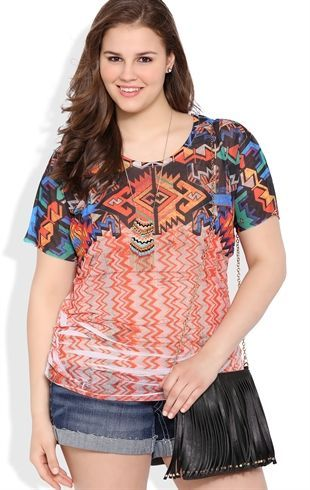 Plus Size Tribal Print Dolman Top with Lace Back Patch, 1X-3X. $23.00 at DebShops.com.
