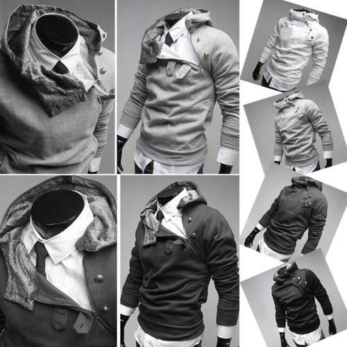 Cool Collar Men Slim Coat Jacket Hoodie Warm Autumn Tops Sweatershirt Outerwear | eBay