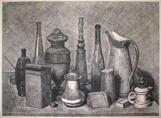 Giorgio Morandi, Grande natura morta con la lampada a destra, 1928, etching