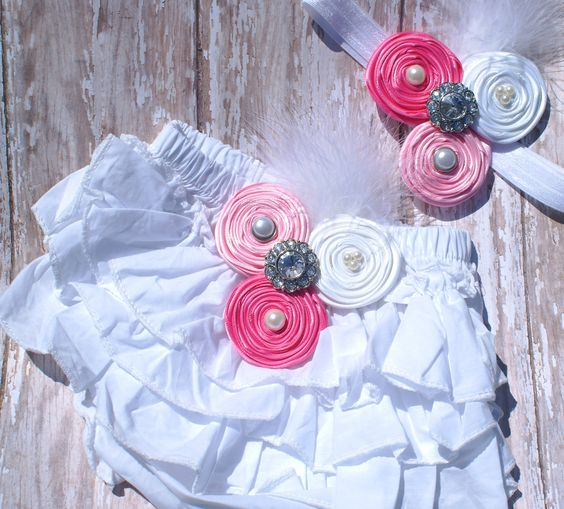 Hair bow and matching Ruffle Bloomers.....perfect for photo props.... first birthdays....Newborn Diaper cover and matching headband. $36.00, via Etsy.