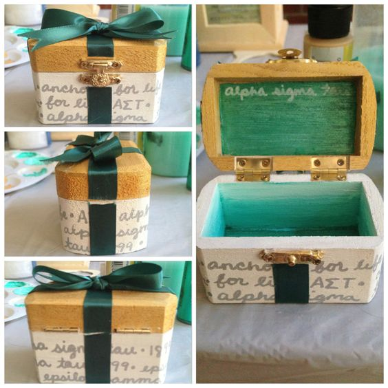 A cute and classy pin box idea! Quote the Symphony on the outside, have a sister hood quote, whatever suits you! <3