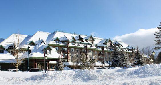 Exterior in Winter of the Lake Tahoe Vacation Resort in South Lake Tahoe, California.  Great ski destination!