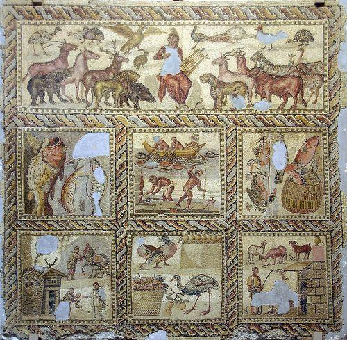 Орфей Mosaic, джамахирия музей, Триполи, Либия.  От вилата Орфей, ...: