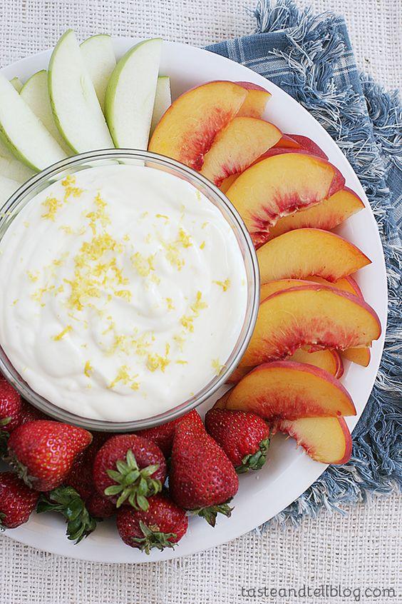 Lemon Cheesecake Fruit Dip on Taste and Tell