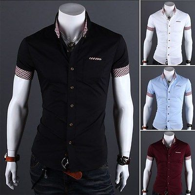 New Fashion Top Mens Slim Fit Casual Short Sleeve Dress Shirts ...