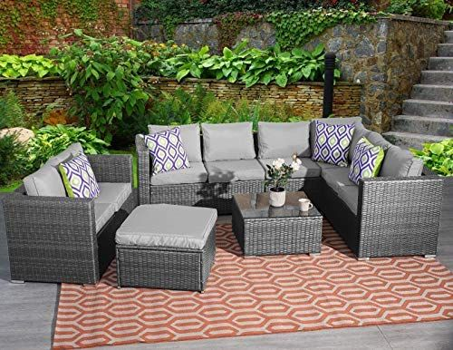Yakoe Garden Furniture 5 Or 9 Seater Rattan Corner Sofa Set Table Stool Conservator Grey Rattan Garden Furniture Grey Outdoor Furniture Rattan Garden Furniture