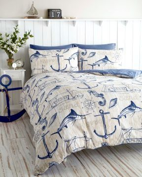 Blue nautical anchor bedding: http://www.completely-coastal.com/2010/07/coastal-and-nautical-bedding.html