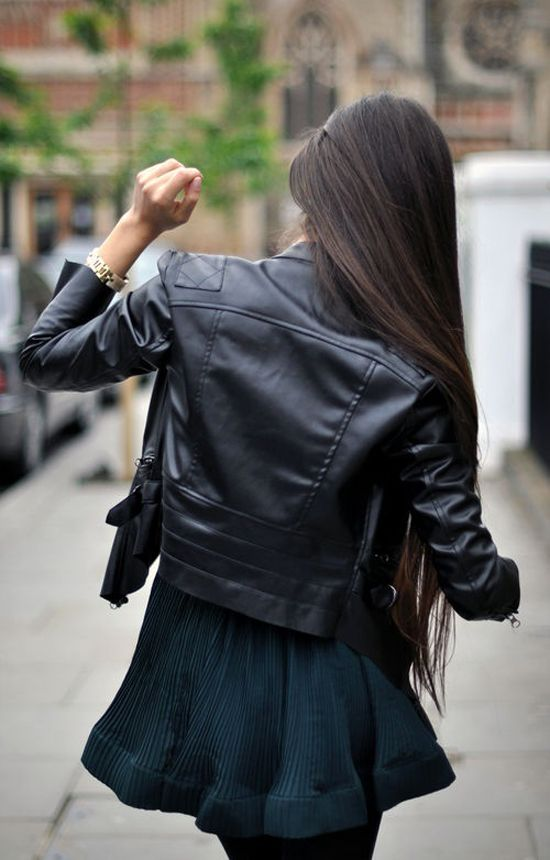 Straight Hair Melissa Mercier Style Fashion Leather Jacket Outfits