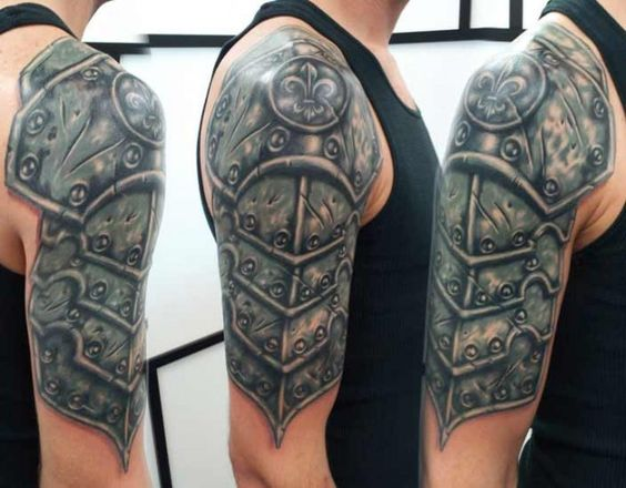 Black and gray tattoo medieval armor sleeve tattoooooos for Medieval armor tattoo