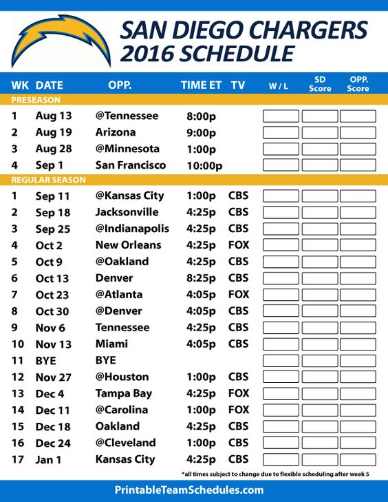 2016-17 San Diego Chargers Schedule