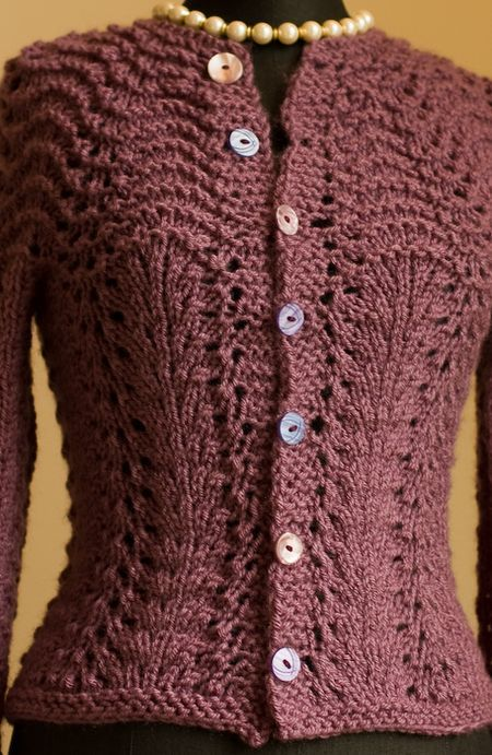 Quick Cardigan Knitting Pattern : Feather and Fan
