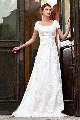 A-line Sweep Train Organza Lace Modest Wedding Dress | LynnBridal.com