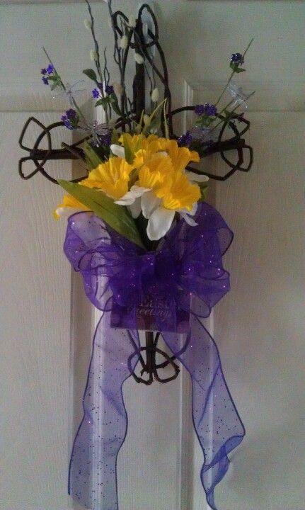 Easter cross door wreath
