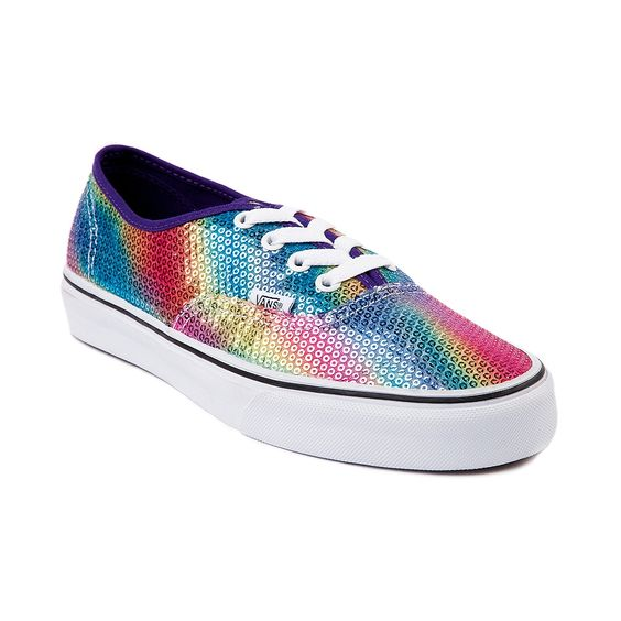 9b7ca34193 Vans Authentic Rainbow Sequin Skate Shoe