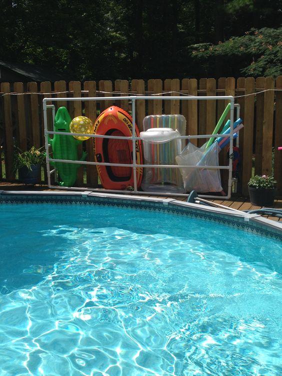 Pool float storage pool stuff pinterest pool fun backyard ideas and pool decks for Swimming pool float storage rack