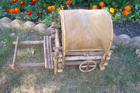 Basket Covered Wagon Native American Twig and Bark by LuRuUniques