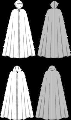 burda style, Schnittmuster für Halloween - Bodenlanges Cape, A mit Kapuze, B mit Kragen zum Hochstellen, jeweils mit einem Knopf geschlossen.