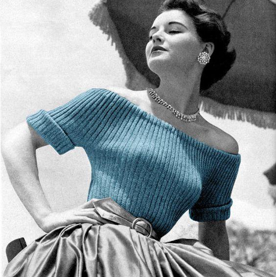 1950s Off The Shoulder Sweater. Vintage Vogue Knitting Pattern for Sale. Kn...