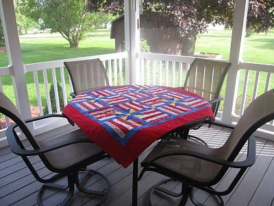 Quilted tablecloth.