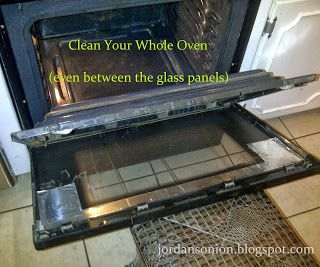 Clean Your Whole Oven- I didn't know the door would open like this to clean inside the glass panels
