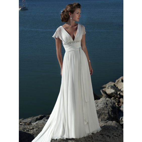 Ivory V neck Beaded Chiffon Beach Destination Wedding Dress